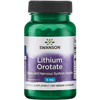 Swanson Lithium Orotate Antioxidant Mood Emotional Wellness Behavior Memory Support Supplement 5 mg 60 Veggie Capsules (Elemental Lithium)
