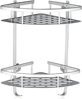Lancher Bathroom Shelf (No Drilling) Durable Aluminum 2 tiers shower shelf Kitchen storage basket Adhesive Suction Corner ...