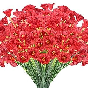 JEMONG 24 Bundles Artificial Flowers Outdoor UV Resistant Fake Flowers No Fade Faux Plastic Plants Garden Porch Window Box Decorating