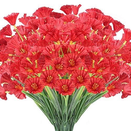 JEMONG 24 Bundles Artificial Flowers Outdoor UV Resistant Fake Flowers No Fade Faux Plastic Plants Garden Porch Window Box Decorating(Deep Red)