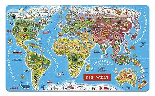 Janod Puzzle Weltkarte - Magnetische Landkarte aus Holz, 92 Magnetische Puzzle-Teile - 70 x 43 cm - Deutsche Version - Lernspiel ab 7 Jahren, J05490