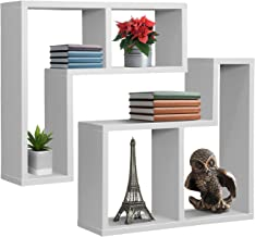 Sorbus Floating Shelf L-Shaped Set — L-Ledge Wall Shelves with 2 Openings, Decorative Hanging Display for Photo Frames, Collectibles, and Home Décor (Geometric L-Shape (Set of 2) – White)