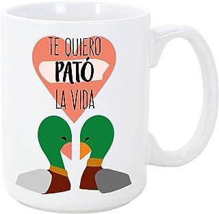 MUGFFINS Taza para Enamorados/San Valentín - Te Quiero Pató la Vida - 350 ml - Tazas Desayuno Originales con Frases de Reg...