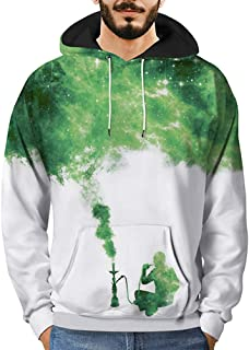 Men Casual Long Sleeve 3D Printed Graffiti Pullover Long Sleeve Hooded Sweatshirt Top