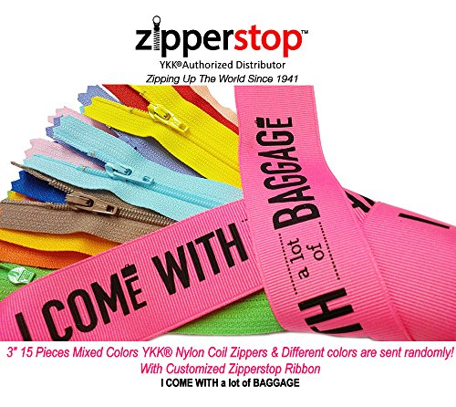 "Zipperstop Wholesale YKK- 15 Assorted 3 Inch Doll Zippers Nylon Coil Zippers YKK #3 Skirt & Dress Zippers Closed Bottom 3"" Made in USA with Customized Zipperstop Ribbon – Crafter's Special"