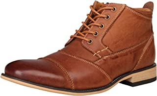 Men's Genuine Leather Oxfords Dress Ankle Boots with Zipper