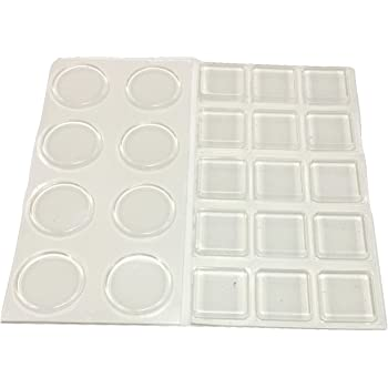 Clear Rubber Desk Bumpers w// Adhesive 8.5x2.2mm Hemispherical-1 Pad TroySys 450 ea. Per Pad