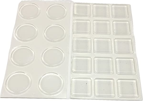 1 Inch Clear Adhesive Bumpers Combo Pack Square Circle Made In USA Set Of 23 Transparent Glass Protective Pads Self Stick Rubber Pads For Glass Table Top Furniture Feet Picture Frames