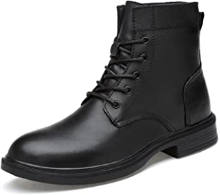 A-myt comfortable and soft Men's cycling boots round toe high-top lace-up shoes literal leather soles winter warm plush Ca...