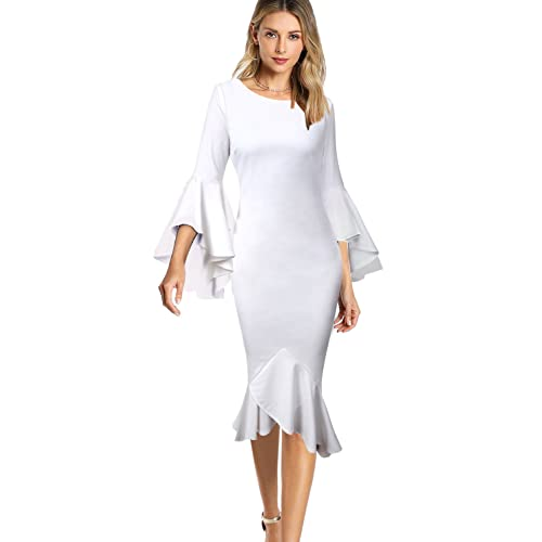 d88a95cb1f39 VfEmage Womens Elegant Bell Sleeve Wear to Work Party Cocktail Sheath Dress