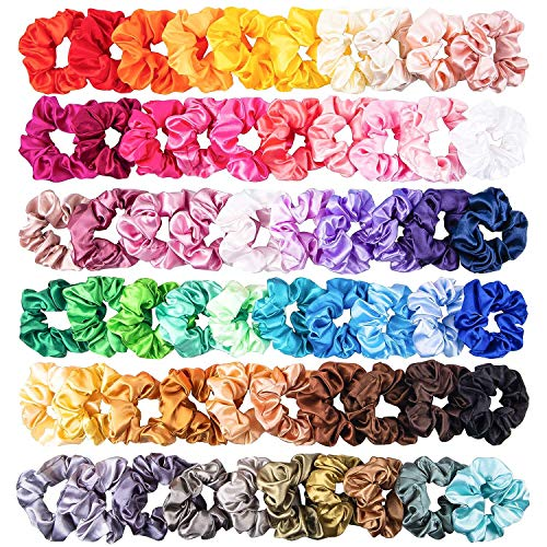 WATINC 60 Stück Bunte Silk Satin Scrunchies Set Starke Haargummis Elastische Haar Bobble Haarbänder Pferdeschwanz Halter Einfarbig Gummibänder Traceless Haarseil Zubehör Haarschmuck für Mädchen Frauen