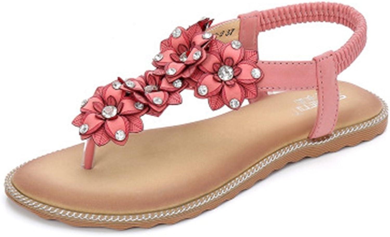 GIY Bohemian Flowers Flat Sandals for Women Rhinestone Comfort Elastic Summer Beach Thong Sandals shoes