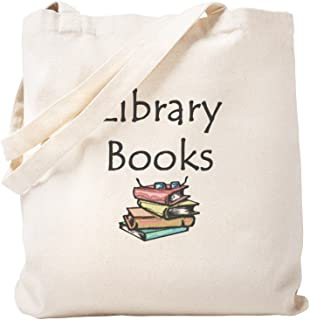CafePress Library Book Natural Canvas Tote Bag, Reusable Shopping Bag