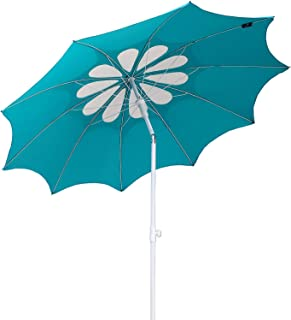 AMMSUN 7ft Beach Umbrella with Tilt Telescopic Pole and UPF 100+, Flower Vents Design and Portable Sun Shelter for Sand and Outdoor Activities, Carry Bag and Without Sand Anchor Teal /white
