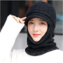 JCY Women Winter Hat Scarf,2 in 1 Baotou Hat Plus Velvet Thickening Warm Warm Duck Tongue Knit Hat Riding Windproof Earmuffs (Color : Black)