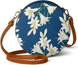 DailyObjects White Lillies Orbis Round Sling Crossbody Bag for girls and women | Vegan leather, Stylish, Sturdy, Zip closu...
