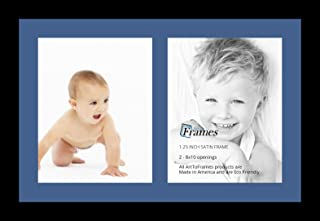 ArtToFrames Collage Photo Frame Single Mat with 2-8x10 Openings with Satin Black Frame and Royal mat.