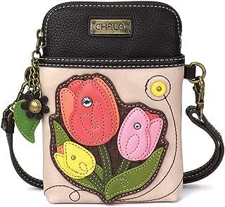 Chala Crossbody Handy-Geldbörse – Frauen PU-Leder mehrfarbig Handtasche mit verstellbarem Riemen