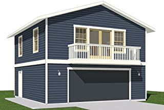 Garage Plans : 2 Car with Full Second Story – 1307-1bapt – 26' x..