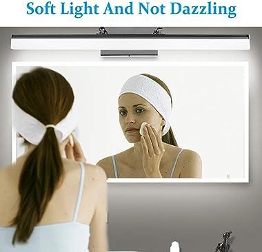 LEDMO Modern LED Bathroom Vanity Lights Retractable Cool White 6000K Stainless Steel Vanity Wall Light Adjustable Over Mirror