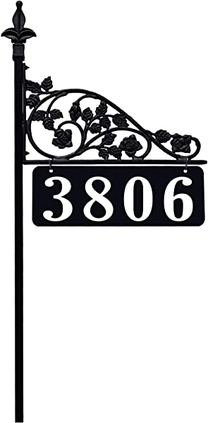 Rose Reflective Double Sided Address Sign With 47 Pole Easily Seen Day And Night No Batteries Electricity Or Solar Cells Required