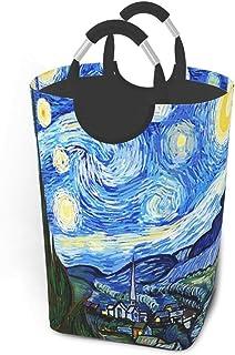NoBrand Grand Panier à Linge Haut, Panier à Linge Pliable Van Gogh Starry Sky avec poignées en Aluminium Panier de Rangeme...