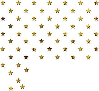 Wall1ders - Dakshita Decor 100 Stars 5 cm Each Gold 3D Acrylic Sticker, 3D Acrylic Stickers for Wall, 3D Mirror Wall Stick...
