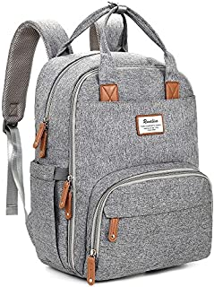 Diaper Bag Backpack, RUVALINO Multifunction Travel Back Pack Maternity Baby Nappy Changing Bags, Large Capacity, Waterproof and Stylish, Gray