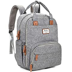 What you'll get - 1 normal size backpack diaper bag with changing pad (DIMENSION: 11.8l x 7.8w x 16.5h inches, Weight: 1.78lb; Mat Size: 23l x 15w inches). Two big zipper closure compartments and 16 pockets, Spacious enough to hold most of baby essen...