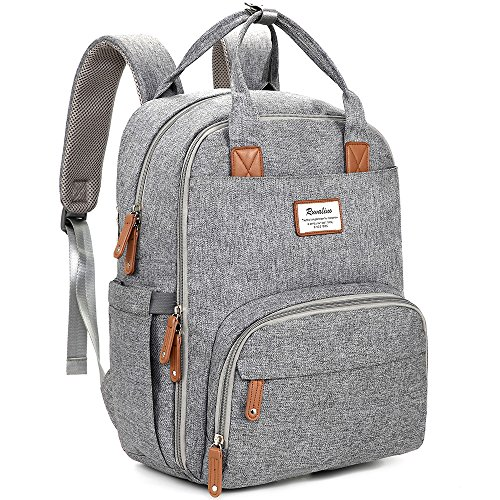Nappy Changing Backpack, RUVALINO Multifunction Baby Diaper Bag Travel Back Pack with Changing Mat for Mom and Dad (Grey)