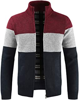 Men Jacket Stand-Up Collar Regular Fit Color Splicing Knitwear Spring and Autumn Warm Transition Jacket Comfortable Softly...