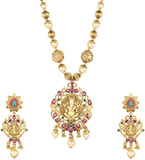 Gold Plated Polki Necklaces Traditional Partywear Jewelry for Women
