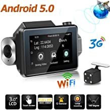 ILYO Android 5.0 Dash Cam, 3G Wi-Fi Car Dash Cam 1080P HD Dual Lens DVR GPS Voice Call Gravity Sensing Loop Recording Function 360 Degree Rotatable Lens