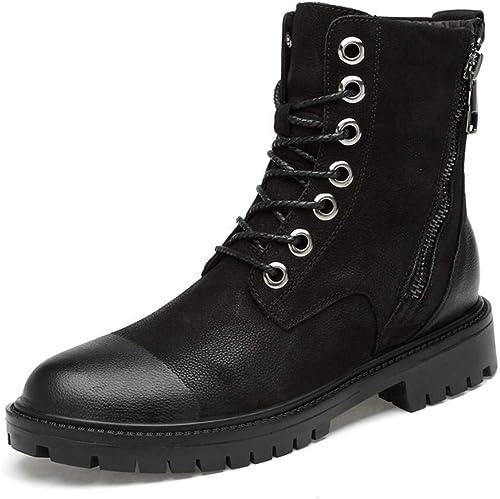 Fuxitoggo Hommes Bottines Doux High Top Semelle Zippée Coton Chaud Décontracté Chaussures de Travail Confortables (Conventional en Option) (Couleur  Noir, Taille  45 EU) (Couleuré   Noir, Taille   44 EU)