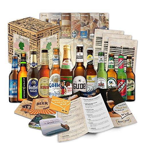 12 especialidades de cervezas de Alemania (Las mejores cervezas alemanas) como un paquete de probar para regalar en caja de regalo 12 x 0,33l / regalo romántico de San Valentín para su novio varón