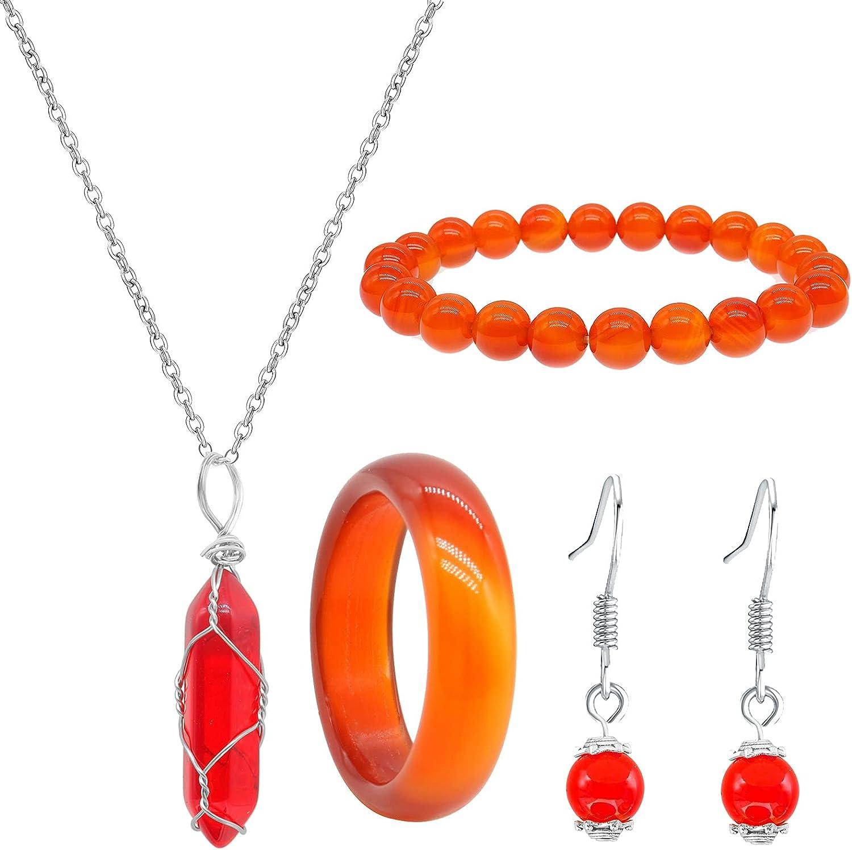 Carnelian Crystal Jewelry Set Carnelian Crystal Necklace for Women Red Carnelian Ring 8mm Natural Carnelian Gemstone Bracelet