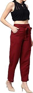 Idalia Women's Maroon Solid Cotton Trousers