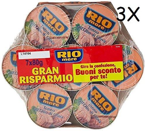 3x 7x Rio Mare Tonno all'olio di oliva 3x Mega pack Thunfisch in Olivenöl 7 x 80g
