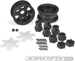 J Concepts Inc. Dragon 2.6 Mega Truck Wheel with Adapter, Black (2), JCO3379B