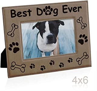 KATE POSH Best. Dog. Ever. Engraved Leather Picture Frame - Dog Lover Gifts, Dog Memorial Gifts, Birthday Gifts, Dog Paws and Bones Decor, Pet Memorial Gifts