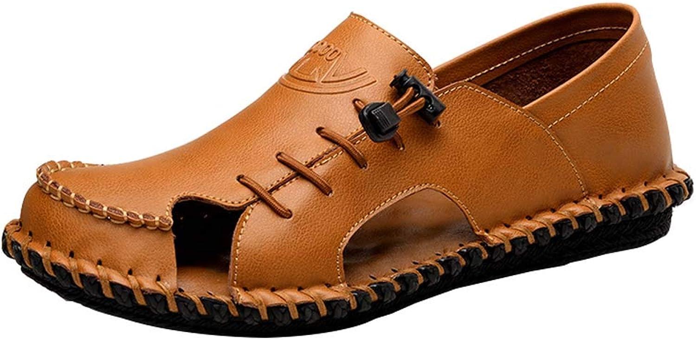 Men's Slide Closed Sandals Leather Leisure Slippers Outdoor Summer Beach Pantolette