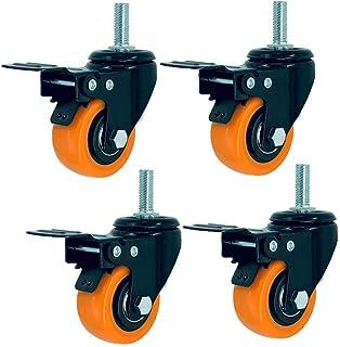 Zwenkwielen met 4 wielen, zwenkwielen met rem, industriële zwenkwielen met schroefdraad voor zwaar gebruik, vervanging voo...