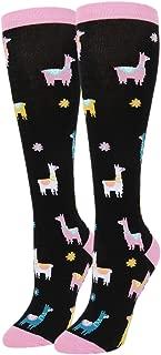 Women's Girls Novelty Funny Over the Calf Socks, Funny Unicorn Nurse Llama Teeth