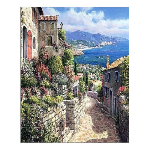 "Beautiful Modern Art Watercolor Painting Italian town Canvas Print Wall Art 16"" x 20"" Inch, Stretched and Framed Artwork Decor Wall Living room Office, Art Abstract City Landscape Watercolor Picture Canvas Wall Art Print"
