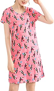 ENJOYNIGHT Womens Cotton Sleepwear Short Sleeves Print Sleepshirt Sleep Tee
