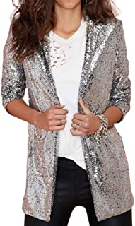 desolateness Womens Sequin Jacket Sparkle Open Front Cardigan Blazer Casual Long Sleeve Coat