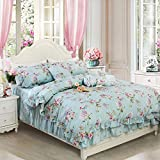 FADFAY Floral Duvet Cover Set Queen Size Premium 100% Cotton with Stripe Bedskirt Designer Bedding Set Hydrangea Print French Country Style 4-Pieces :1 Zipper Duvet Cover+ 1Bedskirt+2 Pillowshams