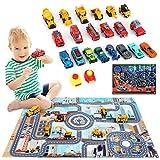 NXACETN Mini camion de chantier, voiture de course, camions de pompiers 3 en 1 Set de jouets avec 2 tapis de jeu en alliage de métal avec cadeaux d'éjection pour garçons et filles