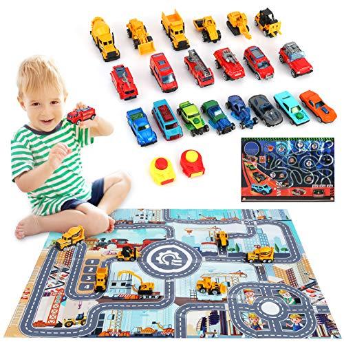 NXACETN Mini Truck Vehículos de construcción, juego de juguetes 3 en 1, con 2 alfombrillas, modelos de coche de metal aleado con regalos de expulsión para niños y niñas