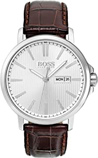 Hugo Boss Men's 42mm Brown Leather Band Steel Case Quartz Analog Watch 1513532